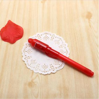 LALANG 1pcs Secret Message Invisible Ink Pen With Built in UV Light Magic Marker Pen (Red) - intl