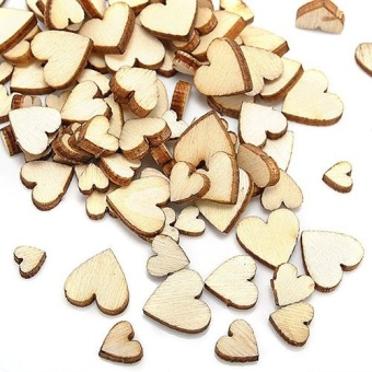 Harga Broadfashion 100 Pcs Wood Love Heart Shape Buttons Table Scatter Craft DIY Wedding Decor - intl