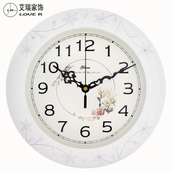 Harga White carved small watches and clocks wood mute quartz clock modern minimalist bedroom wall clock round pocket watch