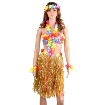 5-in-1 Hawaii Tropical Hula Grass Dance Skirt & Bra & Flower Bracelets & Headband & Necklace Set (Colorful) (EXPORT)