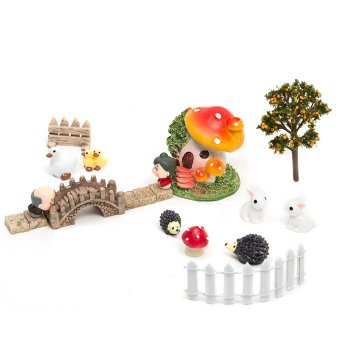 Harga 18Pcs Bonsai Decor Dollhouse Miniature Garden Kit Fairy Ornament Flower Pot Plant Set