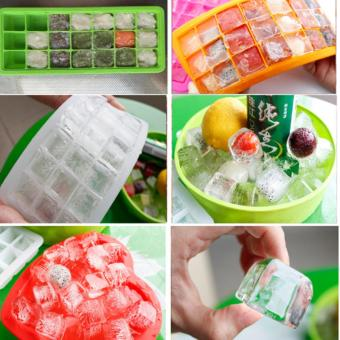 Harga 21 piece Ice Cubes Mould Frozen Cube Bar Pudding Silicone Tray Mold Tool - intl