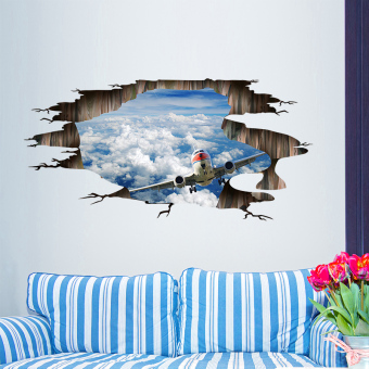 Harga 3d three-dimensional wall stickers sticker wall roof ceiling blue sky shuttle dormitory wall decorations