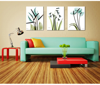 Triple frameless painting decorative painting the living room wall paintings paintings flower painting landscape paintings of european painting living room hallway