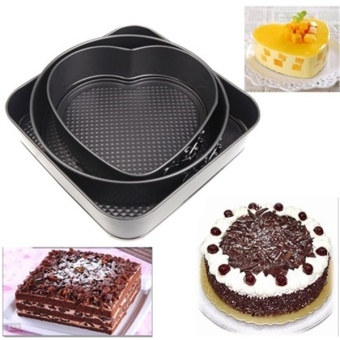 Harga Versatile Sturdy Set of Three Springform Pans Cake Bake Mould Mold Bakeware with Removable Bottom Round Heart Square Shape