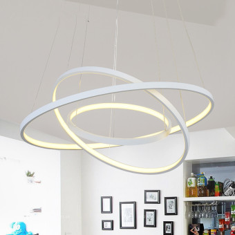 Harga LED Pendant Lights (60+40+20CM ) (Warm Light) DSX3308 Creative Ring Acrylic Lamps Bar Restaurant Bedroom Lightings - intl