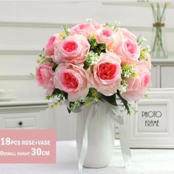 Harga Mimosifolia Home Decorations Artificial Flowers Wedding Party Rose Bouquet Set 18PCS+VASE - intl