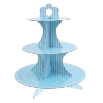 Harga MagiDeal Wedding Birthday Party Foldable Paper Dessert Cake Stand Blue Strip and Dots - intl