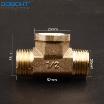 Harga DOBOHT 2Pcs Brass G1/2 Water System Connector Three-way Connection Pipe Tee Union (Brass) - intl
