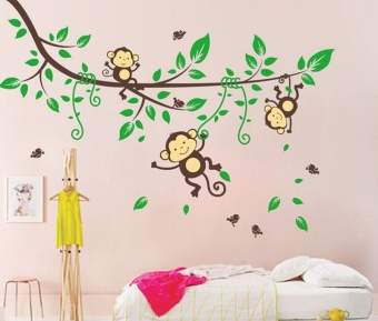 Harga Jungle Monkeys Tree Wall Sticker Vinyl Decal Kid Nursery Baby Decoration Hot Famever - intl