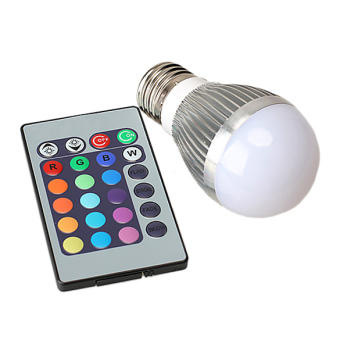 Harga 3W 16 Color Change RGB LED Light Bulb Lamp + IR Remote Energy Saving