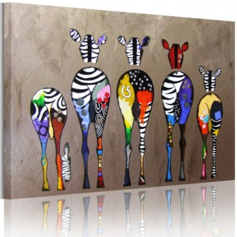 Harga Modern Animal Canvas Oil Painting Print Colorful Zabra 60cmx90cm Wall Art Decor for Living Room Home Decoration Unframed