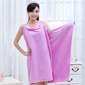 Harga Super Purple Absorbent Microfiber Bath Beach Wearable Body Wrap Spa Towel