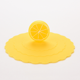 Harga Silicone Cup Lid Watertight leakproof Yellow Lemon