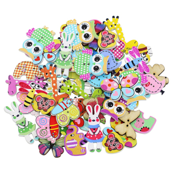 Bluelans Mixed Animal 2 Holes Wooden Buttons Sewing Craft Scrapbooking DIY 50Pcs