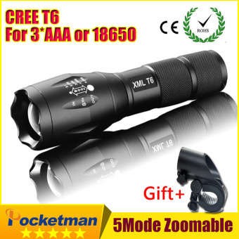 3800LM Aluminum Waterproof Zoomable CREE LED Flashlight Torch light for 18650 Rechargeable or AAA Battery-Gift - intl