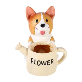 Harga Cute Animal Shaped Succulent Flower Bonsai Pots Planter Home Decoration(Corgi Hold Pot) - intl