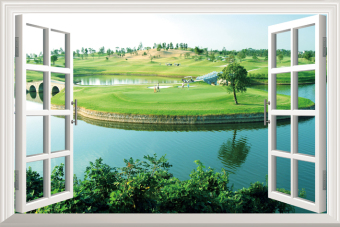 Harga Vision wide fake window stickers landscape background Wall