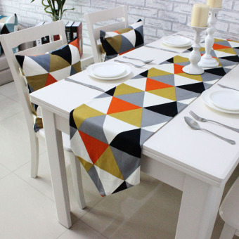Harga Boutique simple geometric modern luxury dining table runner placemat fashion table cloth bed flag bed end towel custom