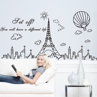 Harga Wall decor sticker removable wall stickers living room sofa study creative minimalist lines building tower balloon