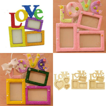 Harga DIY Photo Frame Wooden Love Polaroid DIY Hanging Desktop Album Art Picture Album Love New - intl