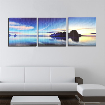Harga 50x50cm 3 Panel Unframed Canvas Sea Islands Printing Home Decor Wall Art Picture - intl
