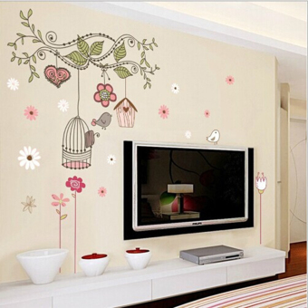 Harga MC Happy Bird Cage Tree Cartoon Mural Decal DIY Removable Art Vinyl Wall Stickers Decor - intl