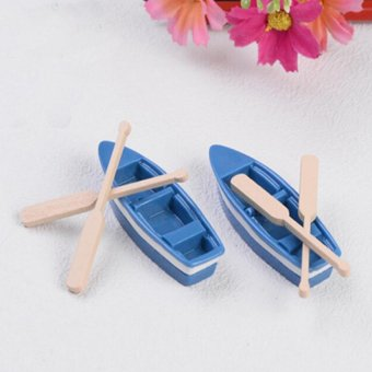 Harga 2 Sets Miniature Boat Fairy Garden Terrarium Figurine Decor DIY Bonsai Craft - intl