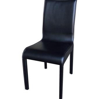 Harga Mid Back Black PU Leather Dining Chair