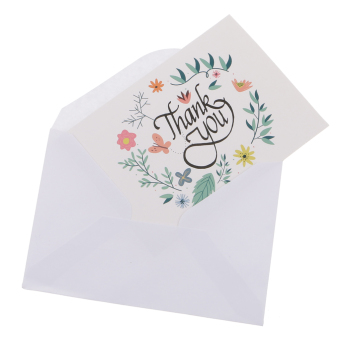 Harga 50pcs Floral Flower Paper Thank You Cards with Envelopes for Wedding Party - intl