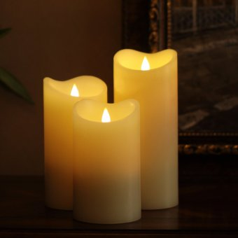 Harga Led Candle Flameless Candle Moving Wick Free-Flowing 3D Fireless flame Real Wax LED Pillar Candle Light With Timer,Home Wedding candle,Battery-Operated,3.75x6.5 Inch,Ivory