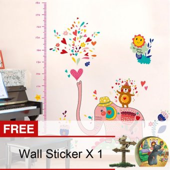 Harga Yika Kids Elephant Growth Height Chart Wall Sticker (Multicolor) [Buy 1 Get Freebie]