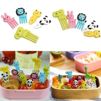 Harga High Quality Store New 10pcs Bento Kawaii Animal Food Fruit Picks Forks Lunch Box Accessory Decor