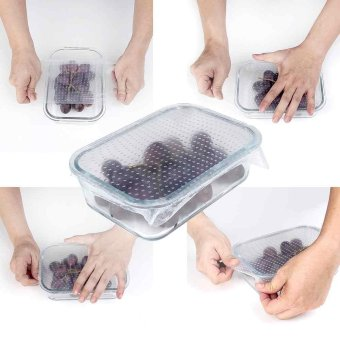 Harga 4PCS/Set Reusable Silicone Re-usable Food Storage Wraps Safe Kitchen Wrap - intl