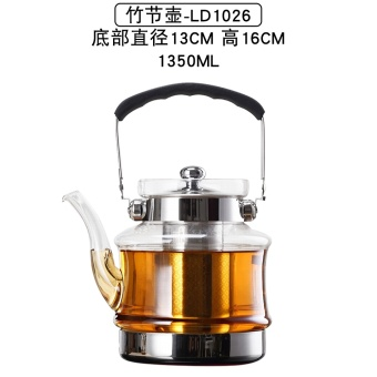 Harga Heat-resistant glass mention beam cook teapot stainless steel liner filter flower pot can be heated Kung Fu tea pot