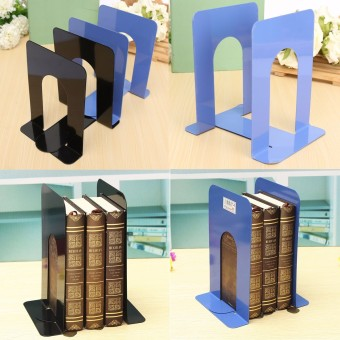 Harga L-Shaped Anti-skid Bookend Solid Metal Shelf Book Case Holder Stationery Blue