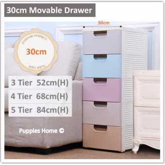 Harga [30cm 4 Tier] Movable Drawer Slim Bedside Cabinet Storage Shelves Kitchen Bedroom Organizer Wardrobe Portable Organiser