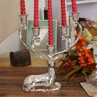 Harga Silver finish metal reindeer shape candle holder,5-arms decorative candle stick, zinc alloy candle stand (EXPORT)