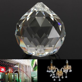 Harga 50mm Clear Crystal Glass Ball Lamp Prisms Part Decoration Pendant Bead FENG SHUI - intl