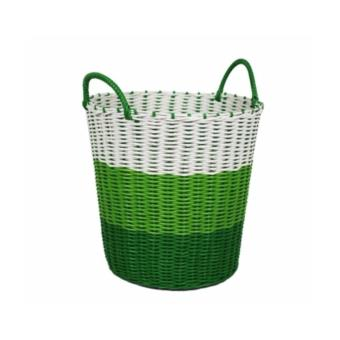 Harga Tri-Colour Woven Laundry Basket (Green)