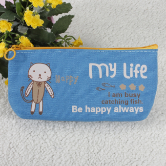 Harga Canvas Animal Pen Bag Cosmetic Makeup Coin Purse Storage Blue