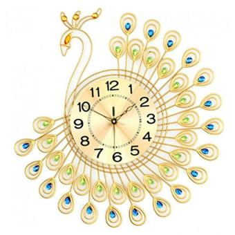 Harga 3D Peacock Design Wall Clock With Diamonds Decoration 53*55cm (EXPORT)- INTL