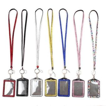 Harga Hang-Qiao Bling Rhinestone Crystal Lanyard ID Badge Holder Black