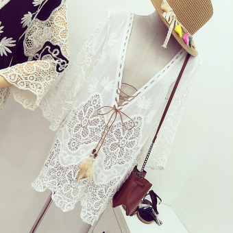 Korean sexy V-neck tether beach dress lace 7 points sleeve bikini outside the ride blouse sun beach dress