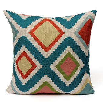 Harga Vintage Geometric Waves Ripple Home Linen Throw Pillow Case Sofa Cushion Cover - Intl