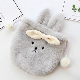 Harga Furry rabbit ears sphere cosmetics small storage bag drawstring bags of debris soft adorable bunny rabbit cosmetic bag