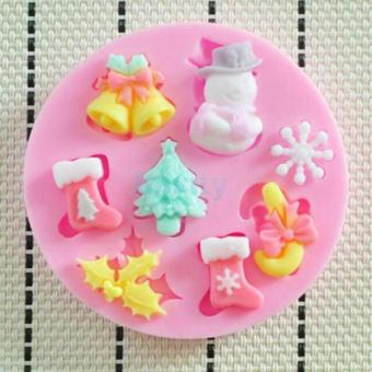 Harga 3D Quality Christmas Bell Silicone Cake Suger Fondant Mold Bake Tool Xmas - intl