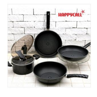 Harga [HAPPYCALL] Happy Call Diamond frying pan Black Edition four Happycall Frypan Black edition 4pcs - intl
