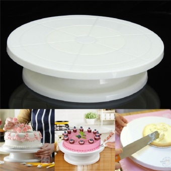 2017 new Food Grade Plastic Material Cake Decorating Turntable Rotating Revolving Icing Kitchen Display Stand 28cm Baking Tools (white) - intl