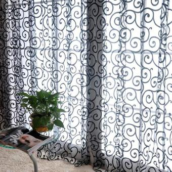 Harga Solid Sweet Floral Tulle Voile Door Window Curtains Black